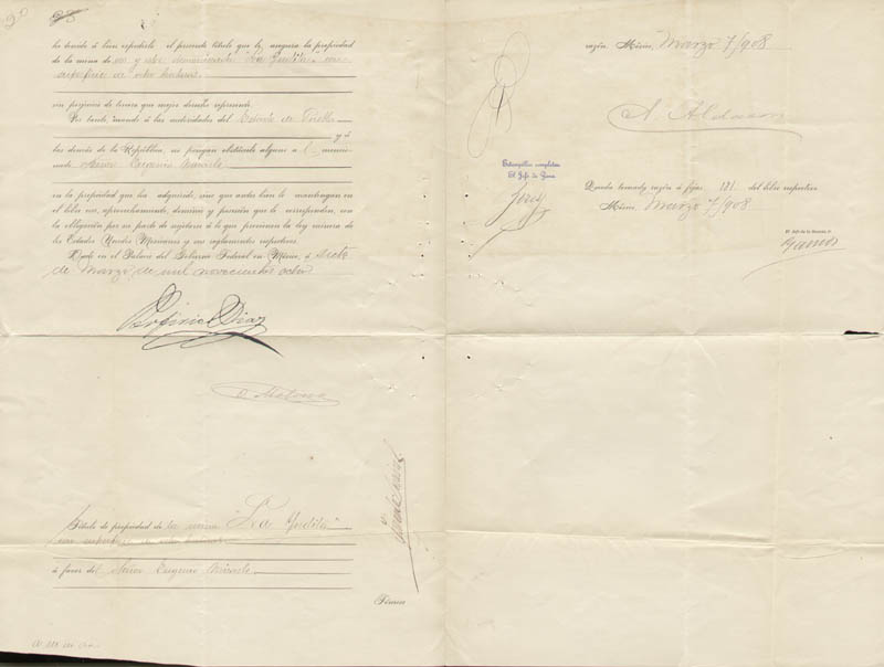 Image 1 for President Porfirio Diaz (Mexico) - Document Signed 03/07/1908 co-signed by: Governor Olegario Molina Solis - HFSID 257276