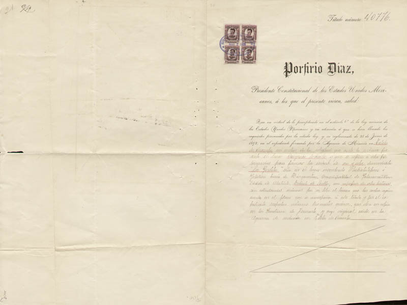 Image 3 for President Porfirio Diaz (Mexico) - Document Signed 03/07/1908 co-signed by: Governor Olegario Molina Solis - HFSID 257276