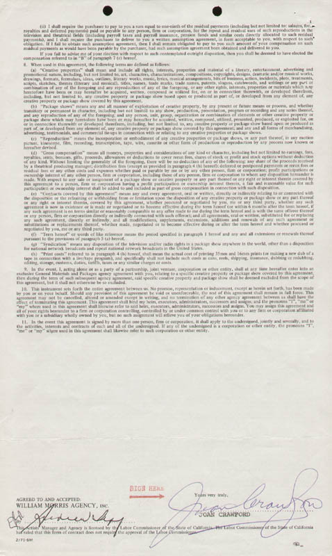 Joan Crawford Contract Signed 04191974 Historyforsale Item 257368