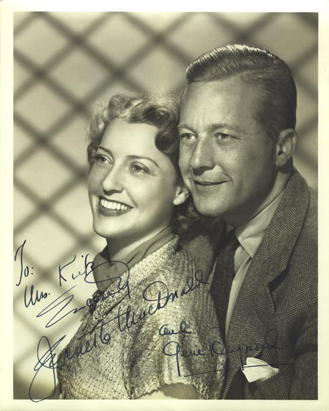 Image 1 for Jeanette Macdonald - Autographed Inscribed Photograph co-signed by: Gene Raymond - HFSID 257396