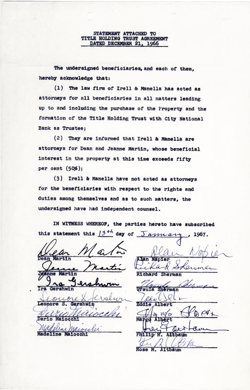 Image 1 for Dean Martin - Document Signed 01/13/1967 with co-signers - HFSID 257401
