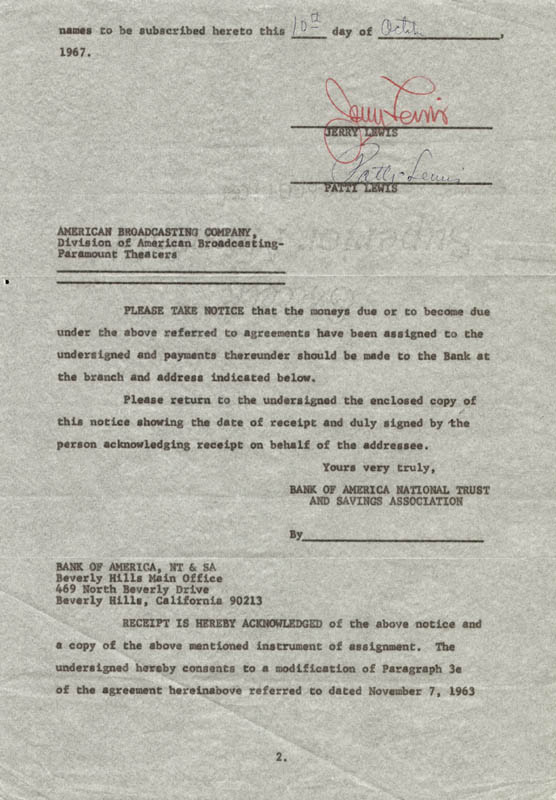 Image 1 for Jerry Lewis - Document Signed 10/10/1967 co-signed by: Patti Palmer (Ex-mrs. Jerry) Lewis - HFSID 257402