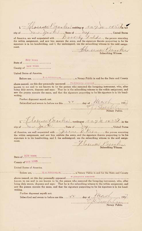 Image 3 for Jerome Kern - Document Signed 03/22/1937 co-signed by: Dorothy Fields - HFSID 257526