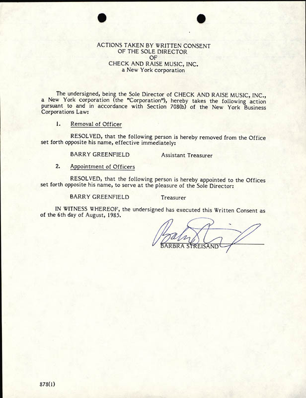 Image 1 for Barbra Streisand - Document Signed 08/06/1985 - HFSID 257567