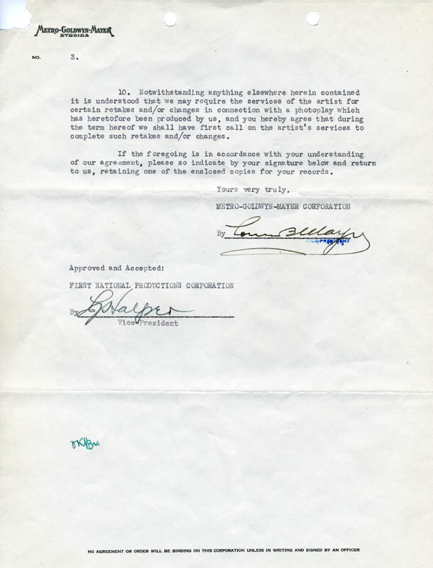 Image 1 for Louis B. Mayer - Document Signed 10/08/1929 - HFSID 257603
