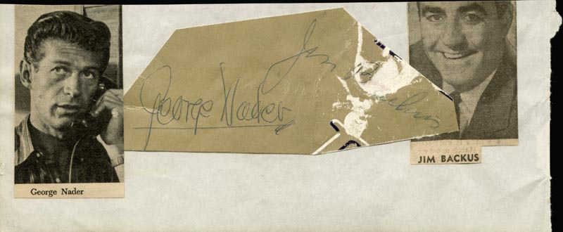 Image 1 for George Nader - Autograph co-signed by: Jim Backus - HFSID 25768