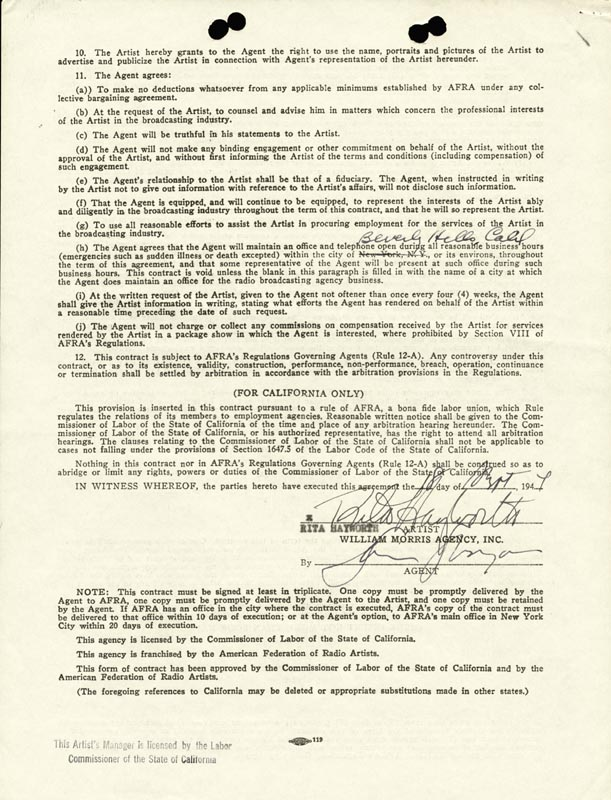 Image 1 for Rita 'The Love Goddess' Hayworth - Contract Signed 09/18/1944 - HFSID 257817
