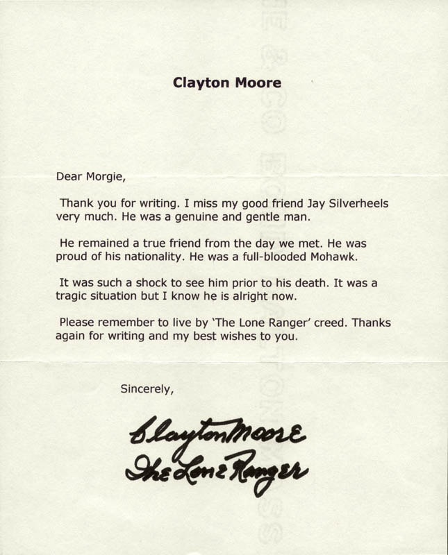 Image 1 for Clayton 'The Lone Ranger' Moore - Typed Letter Signed - HFSID 257839