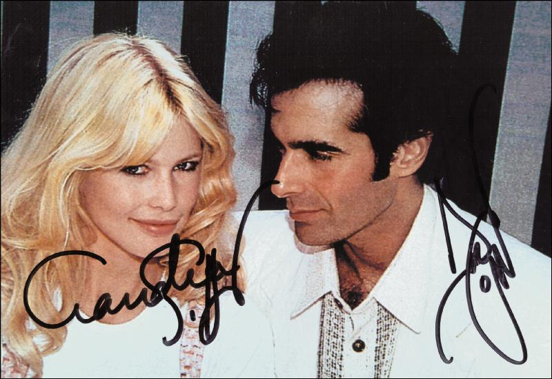 claudia schiffer photograph signed cosigners autographs claudia schiffer photograph signed co signed by david copperfield document 257874