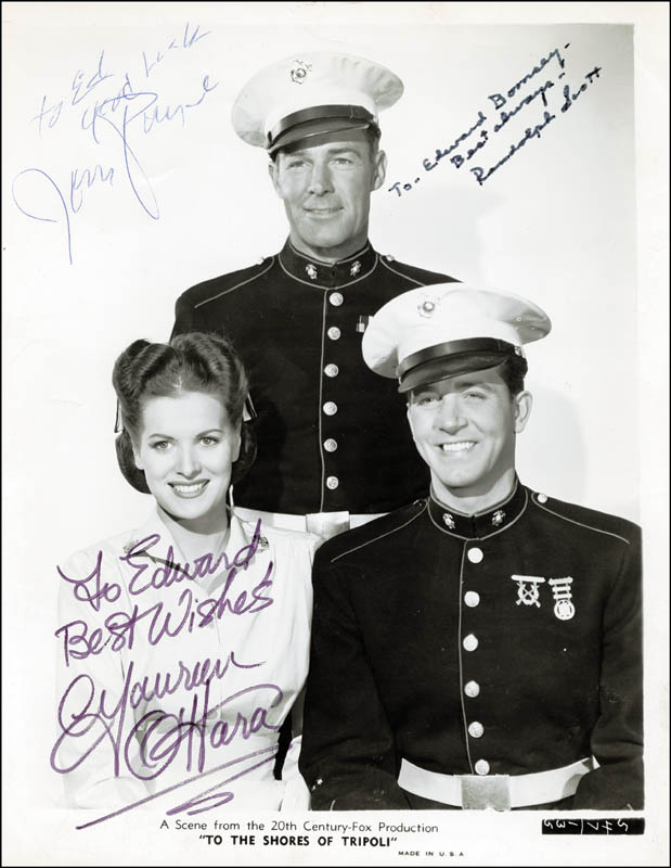 Image 1 for To The Shores Of Tripoli Movie Cast - Inscribed Printed Photograph Signed In Ink co-signed by: John Payne, Randolph Scott, Maureen O'Hara - HFSID 25805