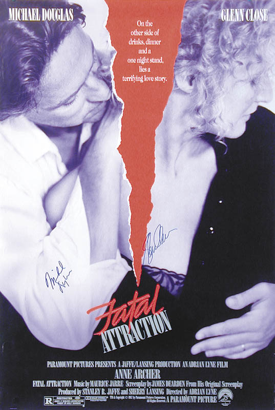 Image 3 for Fatal Attraction Movie Cast - Autographed Signed Poster Circa 1987 co-signed by: Glenn Close, Michael Douglas - HFSID 258092