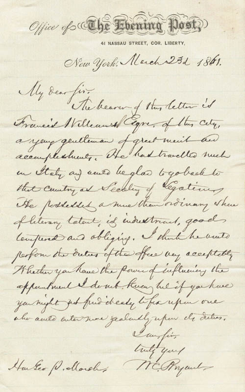 Image 1 for William Cullen Bryant - Autograph Letter Signed 03/23/1861 - HFSID 258406