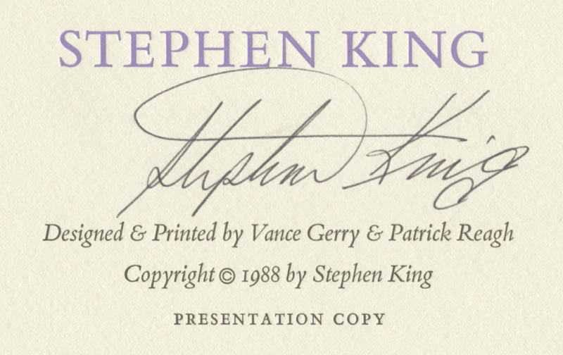 Image 3 for Stephen King - Broadside Signed Circa 1988 - HFSID 258414