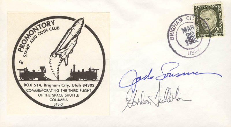 Image 1 for Colonel Jack Lousma - Commemorative Cover Signed co-signed by: Colonel C. Gordon Fullerton - HFSID 258595