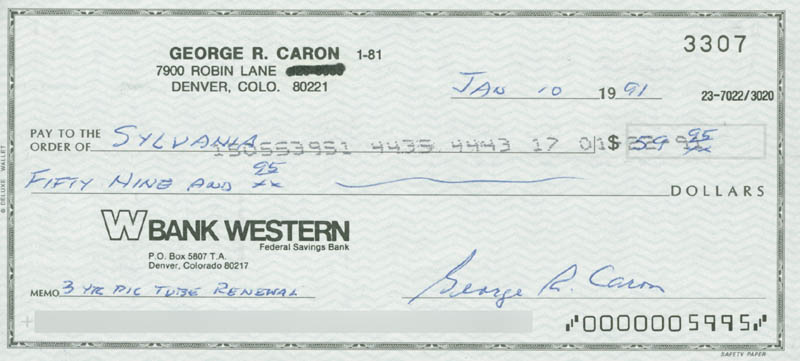 Image 1 for Enola Gay Crew (George R. Caron) - Autographed Signed Check 01/10/1991 - HFSID 258596