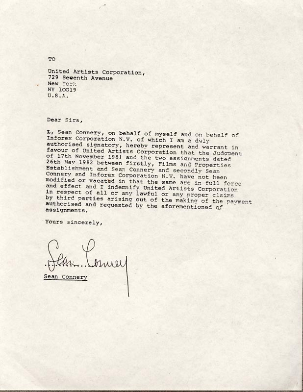 Image 1 for Sean Connery - Document Signed - HFSID 258617