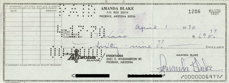 Image 1 for Amanda 'Miss Kitty' Blake - Autographed Signed Check 04/01/1970 - HFSID 258622