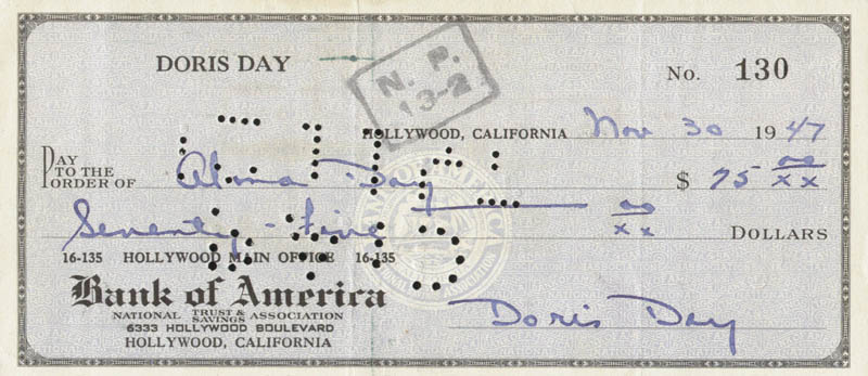 Image 1 for Doris Day - Autographed Signed Check 11/30/1947 - HFSID 258628