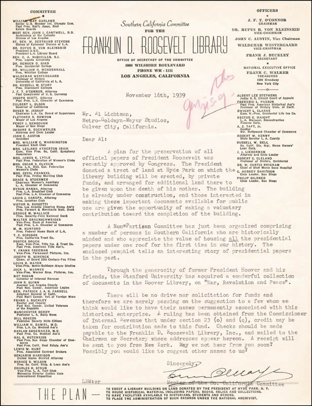 Image 1 for Louis B. Mayer - Typed Letter Signed 11/16/1939 - HFSID 258830