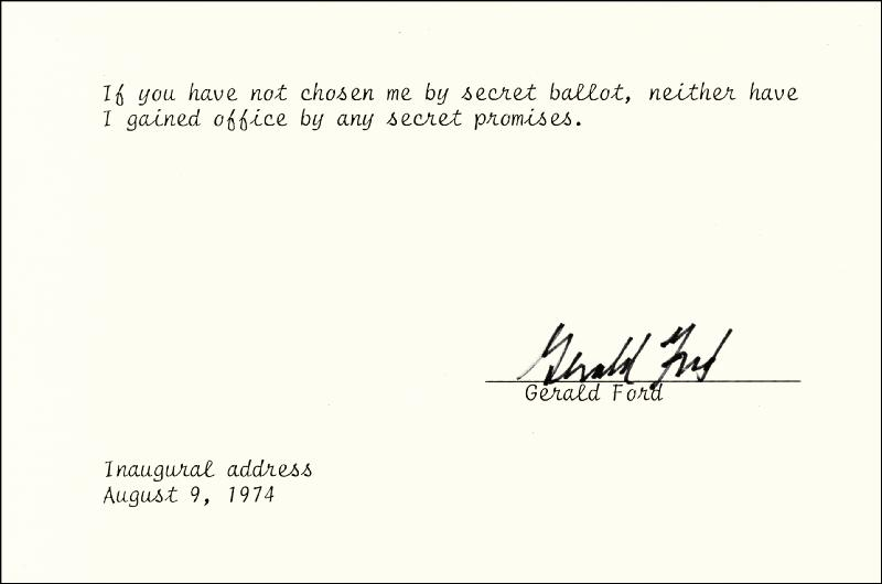 Image 1 for President Gerald R. Ford - Typed Quotation Signed - HFSID 258845