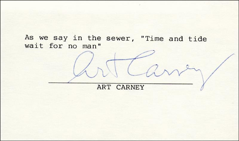 Image 1 for Art Carney - Typed Quotation Signed - HFSID 258895