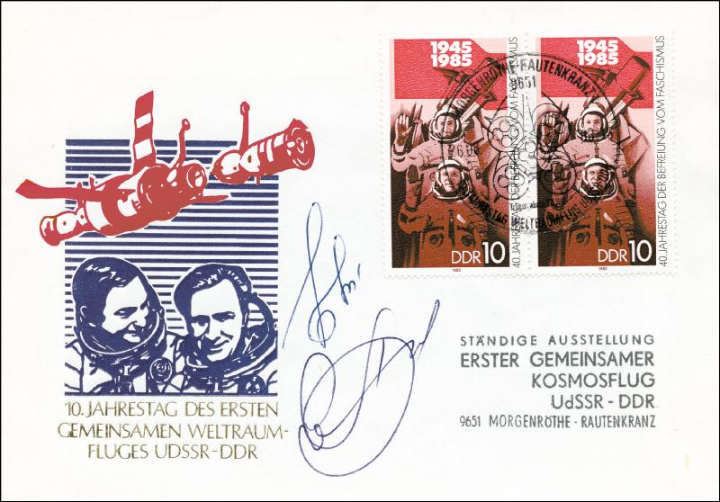 Image 1 for Major General Valeri Bykovsky - Commemorative Envelope Signed co-signed by: Colonel Alexander Viktorenko - HFSID 258952