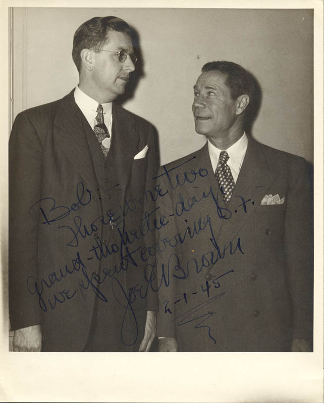 Image 1 for Joe E. Brown - Autographed Inscribed Photograph 02/01/1945 - HFSID 259023