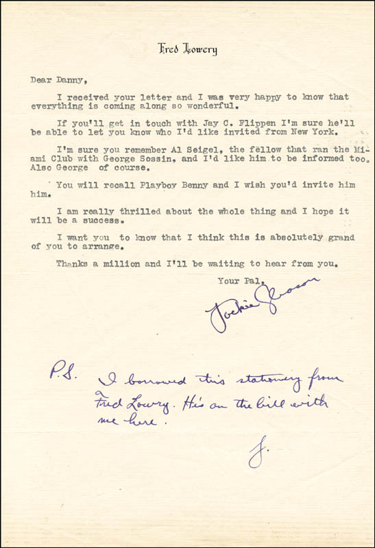 Image 1 for Jackie 'The Great One' Gleason - Typed Letter Signed - HFSID 259077