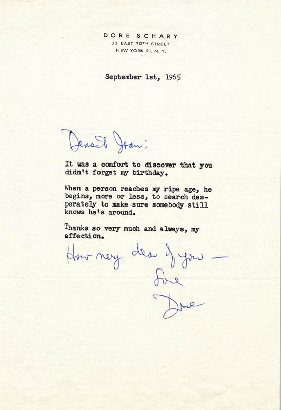 Image 1 for Dore Schary - Typed Letter Signed 09/01/1965 - HFSID 259114
