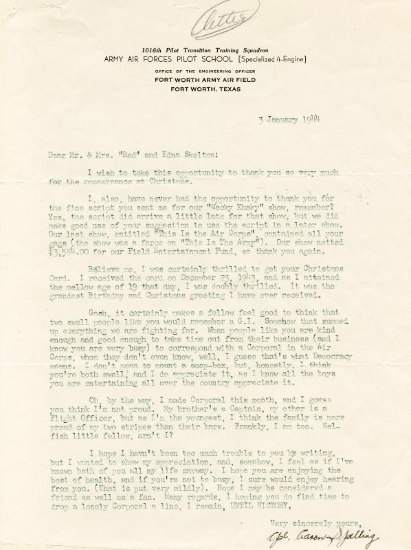 Image 1 for Aaron Spelling - Typed Letter Signed 01/03/1944 - HFSID 259147