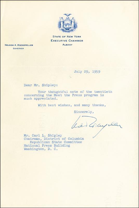 Image 1 for Vice President Nelson A. Rockefeller - Typed Letter Signed 07/29/1959 - HFSID 259166