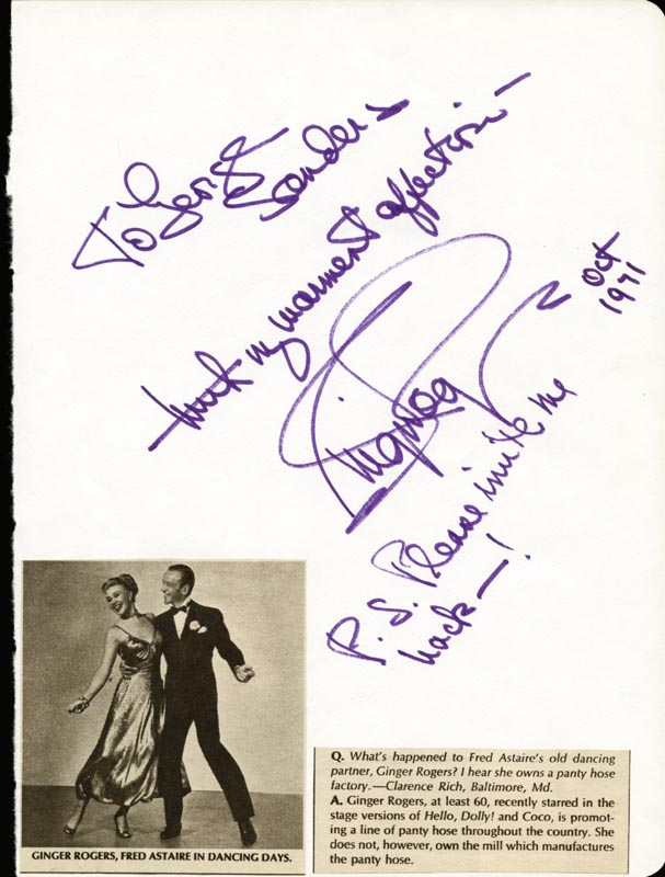 Ginger Rogers Autograph Note Signed 10 1971 Historyforsale Item 25961