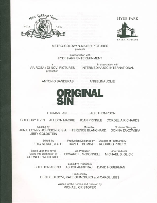 Image 3 for Original Sin Movie Cast - Press Kit Unsigned 2001 - HFSID 259878