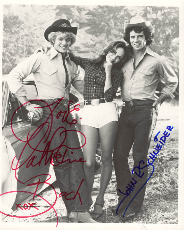 Image 1 for Dukes Of Hazzard TV Cast - Autographed Signed Photograph co-signed by: John Schneider, Catherine Bach - HFSID 26014