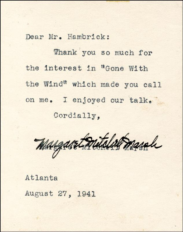 Image 1 for Margaret Mitchell - Typed Letter Signed 08/27/1941 - HFSID 260207