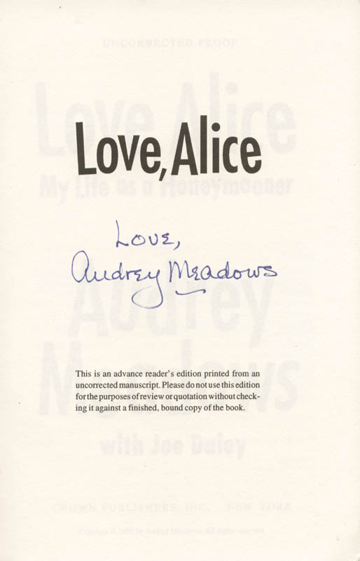 Image 1 for Audrey Meadows - Book Signed Circa 1994 - HFSID 260233