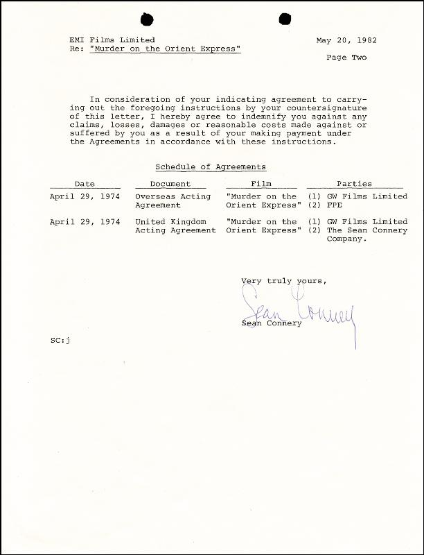 Image 1 for Sean Connery - Document Signed 05/20/1982 - HFSID 260262