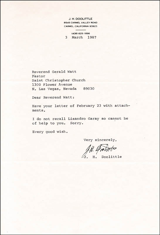 Image 1 for Brigadier General James H. 'Jimmy' Doolittle - Typed Letter Signed 03/03/1987 - HFSID 260296