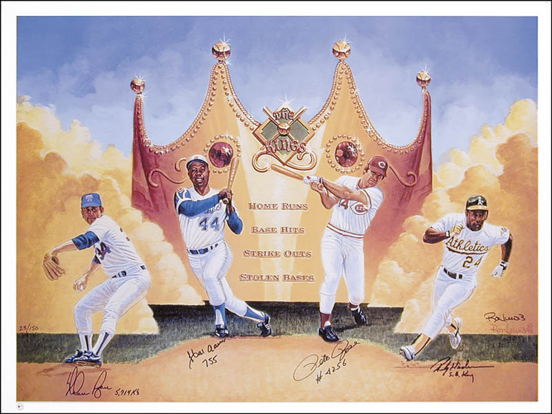 Image 1 for Hank Aaron - Autographed Signed Poster co-signed by: Rickey Henderson, Pete Rose, Nolan Ryan - HFSID 260316