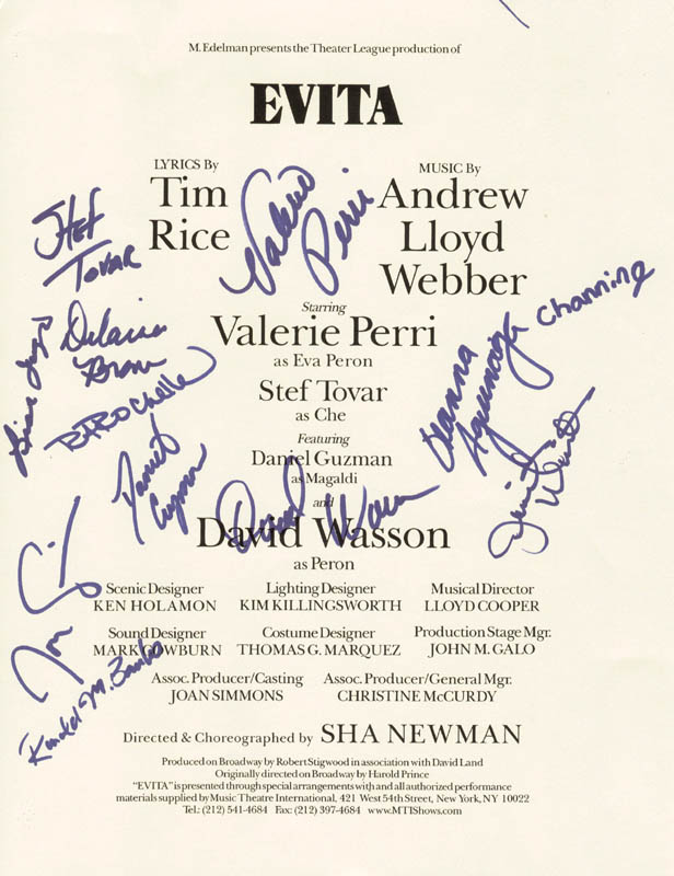 Image 1 for Evita Play Cast - Program Page Signed Circa 1996 co-signed by: Valerie Perri, Stef Tovar, Daniel Guzman, David Wasson - HFSID 260339