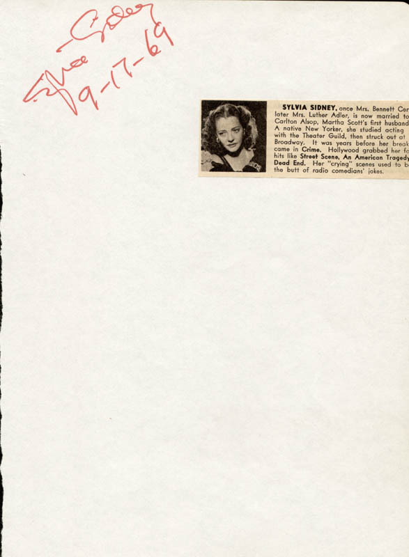 Image 1 for Sylvia Sidney - Autograph 09/17/1969 - HFSID 26048