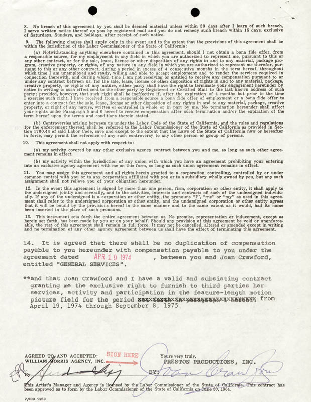 Joan Crawford Contract Signed 04191974 Historyforsale Item 261513