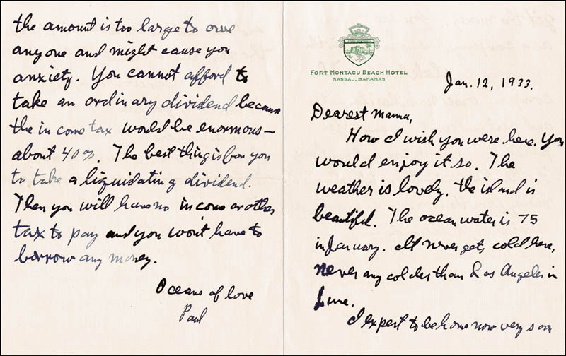 Image 1 for J. Paul Getty - Autograph Letter Signed 01/12/1933 - HFSID 261578