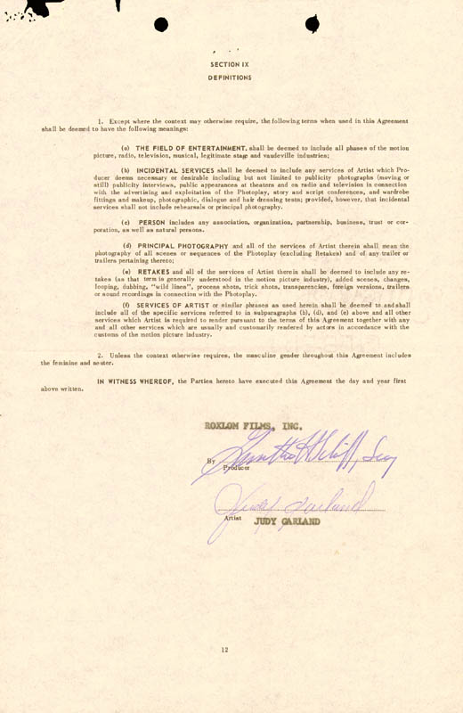 Image 1 for Judy Garland - Contract Signed 01/04/1961 - HFSID 261589