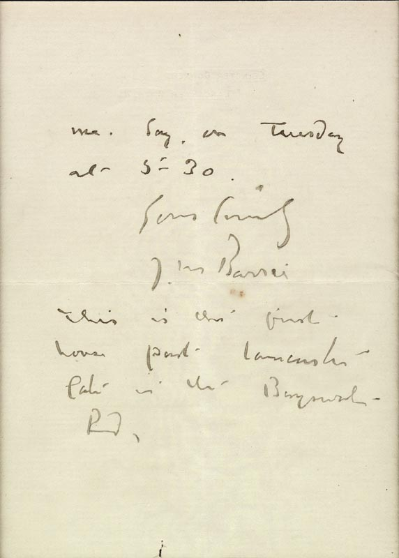 Image 4 for Sir James M. Barrie - Autograph Letter Signed 02/03/1906 - HFSID 261609