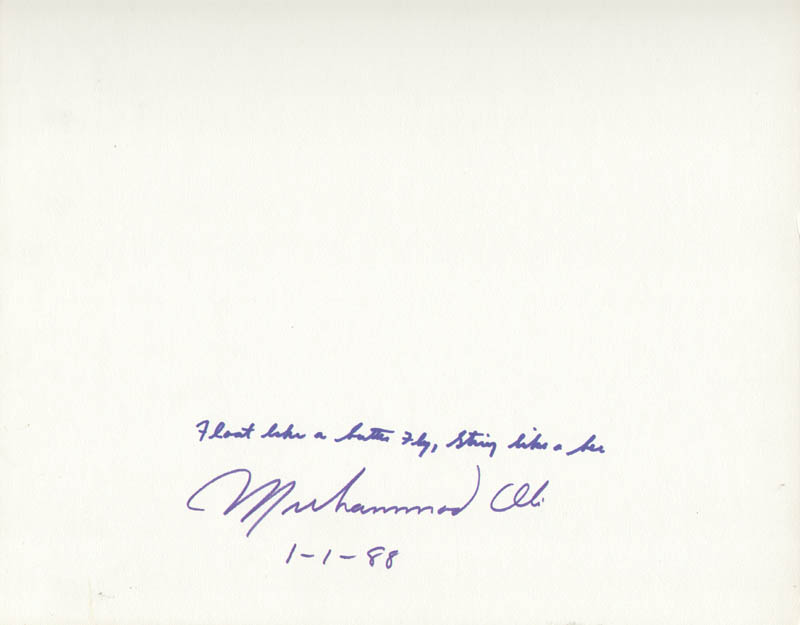 Image 1 for Muhammad 'The Greatest' Ali - Autograph Quotation Signed 01/01/1988 - HFSID 261981