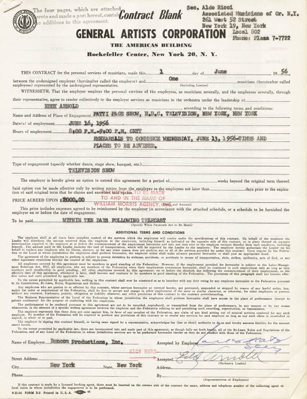 Image 1 for Eddy Arnold - Contract Signed 06/01/1956 - HFSID 262341