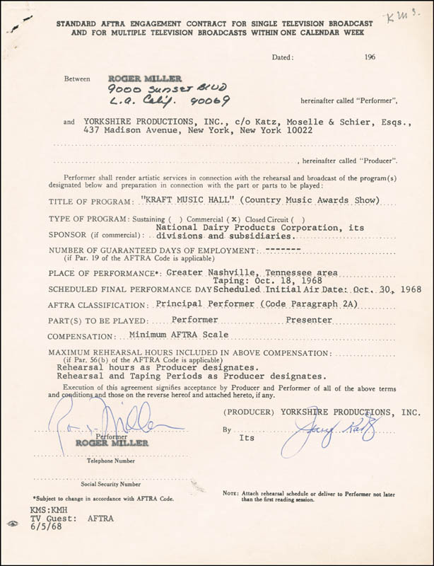 Image 1 for Roger Miller - Contract Signed Circa 1968 - HFSID 262353