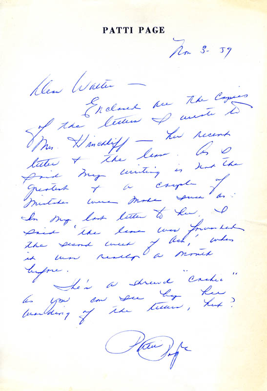 Image 1 for Patti Page - Autograph Letter Signed 11/03/1959 - HFSID 262359