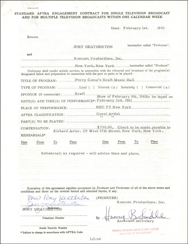 Image 1 for Joey Heatherton - Contract Signed 02/01/1961 - HFSID 262360